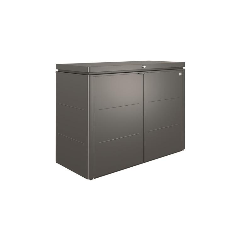 Coffre highboard gris quartz métallique 160x70x118 cm 379433