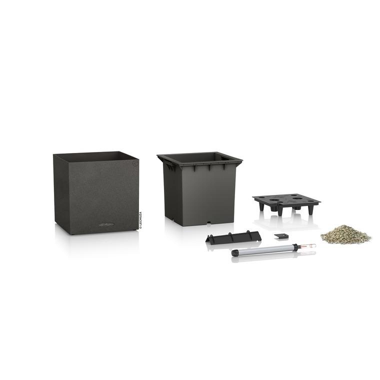Pot carré noir gamme Canto color dimensions L40xl40xH40,8 cm 379585