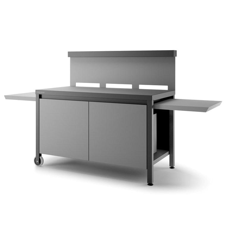 Table roulante avec crédence fermée en acier noir gris 379938
