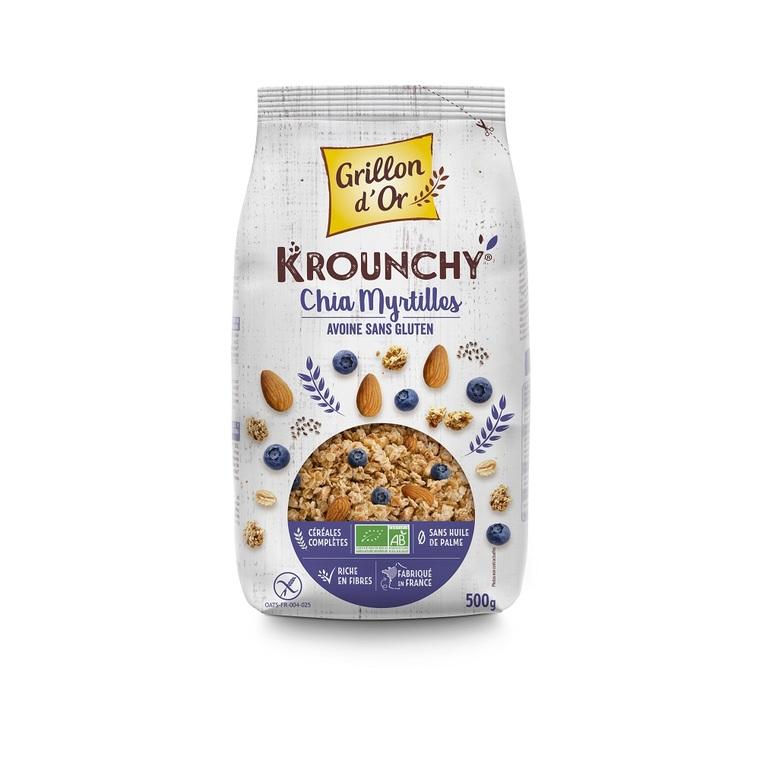 Krounchy au chia myrtilles et avoine sans gluten bio 500 g 381921
