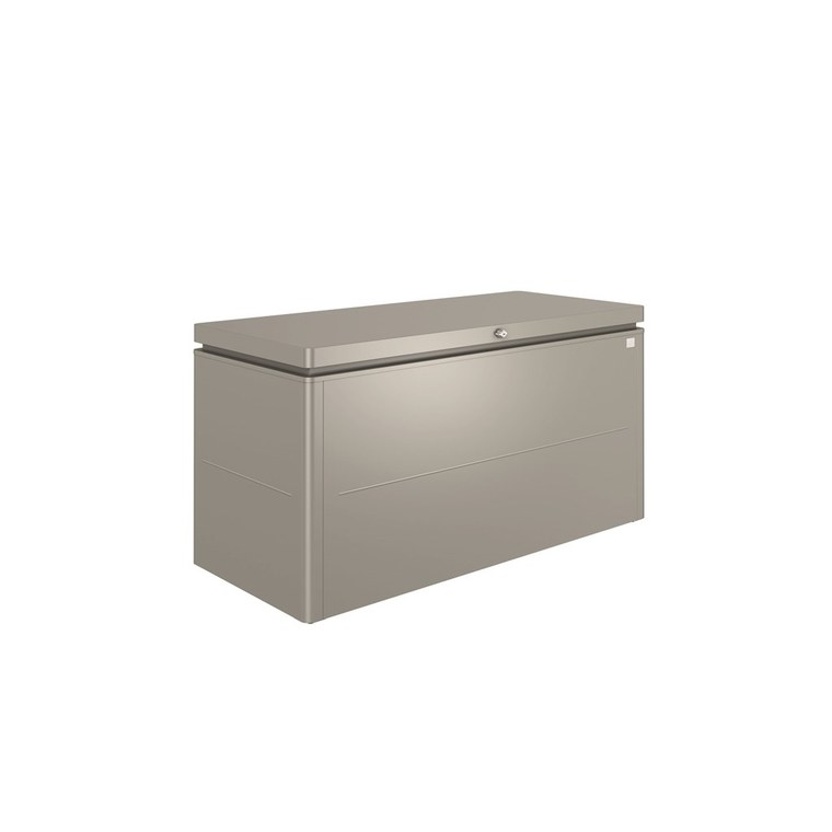 Coffre loungebox gris quartz métallique 160x70x83,5 cm 382367