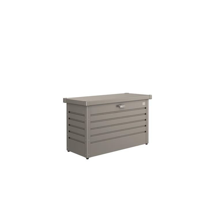 Coffre de jardin gris quartz métallique 101 x 46 x 61 cm 382383