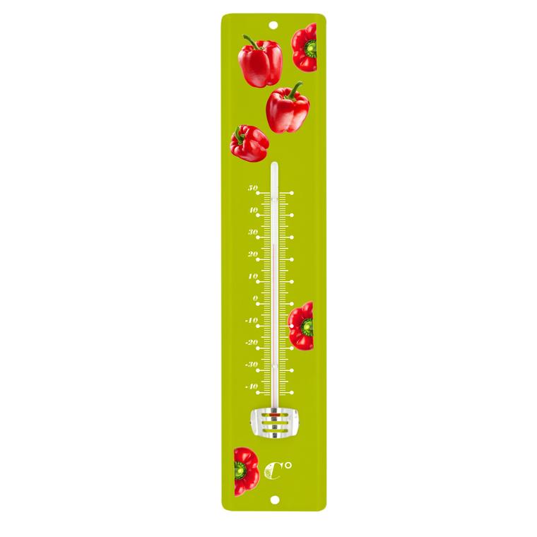 Thermomètre vert en tôle peinte à motif Poivrons rouges 30 cm 388237