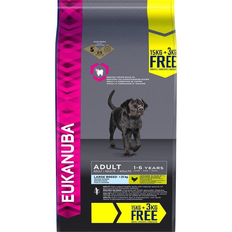 Croquettes pour chien adulte large eukdog 15 + 3 kg offerts