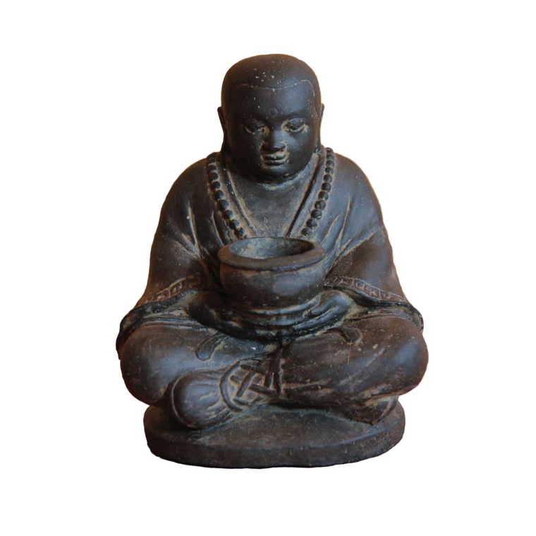 Statue de jardin Moine assis avec pot pour bougie H 20 cm 396233