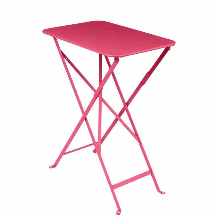 Table pliante rectangulaire bistro rose en acier 57 x 37 x 74 cm ...