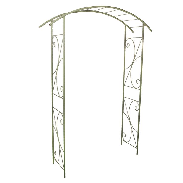 Arche double de jardin avec décor volute vert olive : Arches de ...