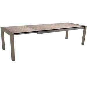 Table extensible Stern en alu & HPL taupe smoky 214/254/294 x 100 cm 400516