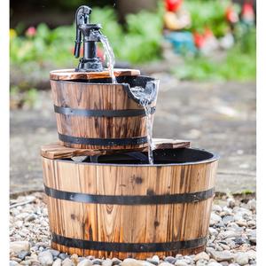 Fontaine de jardin avec 2 tonneaux en bois 402381