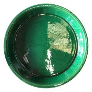 Soucoupe en terre émaillée couleur jade - Ø 23 cm 402656