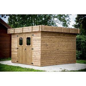 Abri en bois thermo-traité toit plat livré et monté : Abris et ...