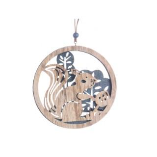 Décoration en bois à suspendre écureuil - 13 cm 402949