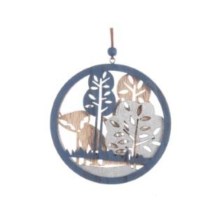 Décoration en bois à suspendre renard - 13 cm 402950