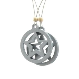 Disque étoile à suspendre en bois gris 406642