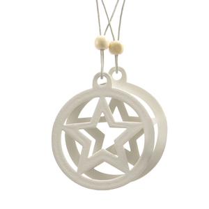 Disque étoile à suspendre en bois blanc 406648