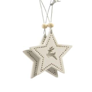 Étoile motif cerf à suspendre en bois blanc 406649