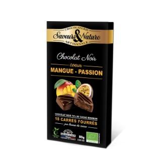 Carrés fourrés mangue passion enrobés de chocolat noir 80 g 406757