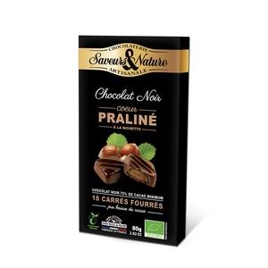 Carrés fourrés praliné enrobés de chocolat noir 80 g 406760