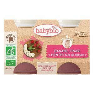 Petits pots de banane fraise et menthe Babybio 2 x 130 g 406816
