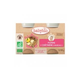 Petits pots de pomme et châtaigne Babybio 2 x 130 g 406818