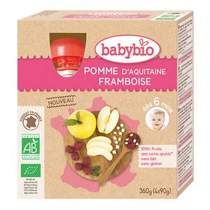 Gourde pomme et framboise Babybio 4 x 90 g 406819