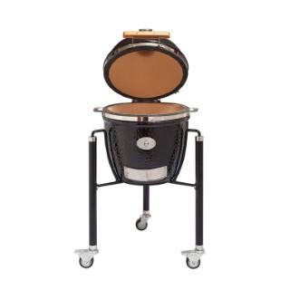 Barbecue fumoir monolith junior noir avec charriot en métal 407439
