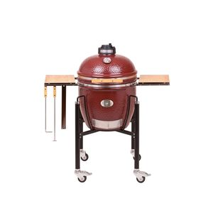 Barbecue fumoir monolith classic rouge avec charriot 85 x 76 x 120 cm 407442