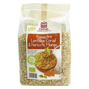 Mélange veggie épeautre lentilles corail et haricots mungo Celnat - 500 g 407506