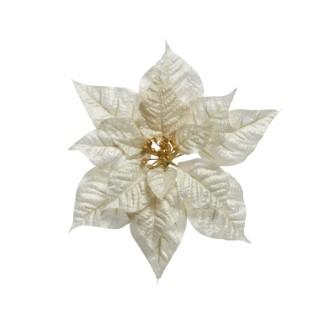 Poinsettia en soie sur tige couleur or - 27x8 cm 407857