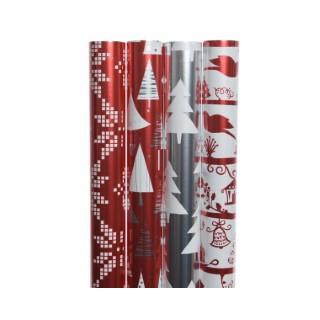 Rouleaux de papier cadeau finitions métal rouge argent - 70x200 cm 407901