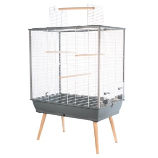 Cage à oiseaux Neo Jili grise sur pieds 78x48x112 cm 408130