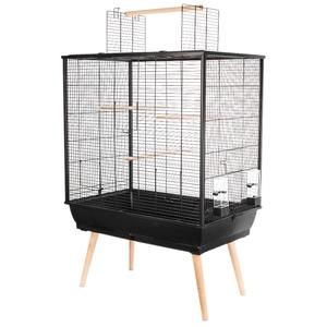Cage à oiseaux Neo Jili noire sur pieds 78x48x112 cm 408131