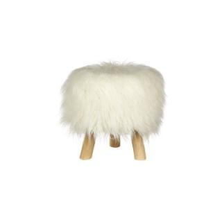 Pouf en bois à poils longs polyester blanc 30x30x35 cm 409035
