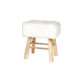 Tabouret bois avec fourrure synthétique blanc 37x27x42 cm 409282