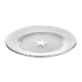 Assiette en verre avec étoile en décalcomanie coloris argent Ø 20,5 cm 409305