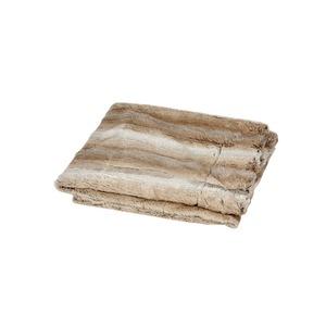 Plaid decke marron et blanc en polyester 150 x 125 cm 409361