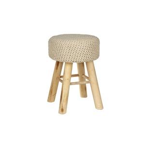 Tabouret bois et coton tressé déhoussable 46x32x32 cm 409363
