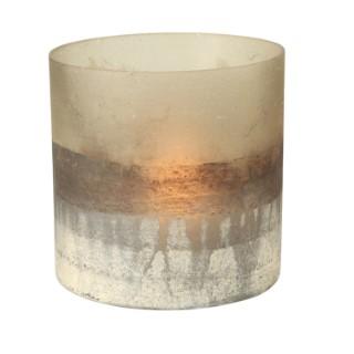 Photophore Listra en verre laqué bicolore 3 coloris assortis H 13 cm 409378