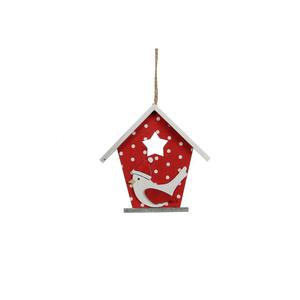 Ornement de Noël à suspendre Cage rouge 12x3,5x12 cm 409498