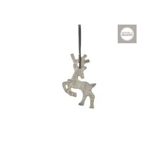 Ornement de Noël Cerf argent à suspendre 12x8x0,5 cm 409510