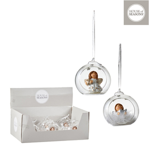 Ornement de Noël à suspendre Boule avec ange blanc H 9 x Ø 6,5 cm 409558