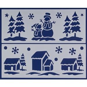 2 pochoirs bleus Sapins et maisons - 16x40 cm 409725