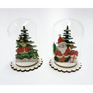 Décoration de Noël cloche en verre H 9 cm 409774