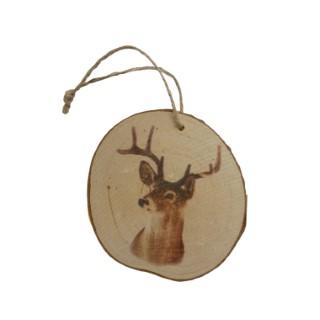 Tête de renne sur bois à suspendre 9 cm 409783