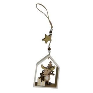 Figurine à suspendre Maison avec Renne en bois 25 cm 409791