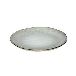 Assiette plate nori en grès réactif coloris vert amande Ø 28 cm 409976