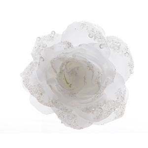 Rose à paillettes blanc d'hiver sur clip  - 14x8.5 cm 410189