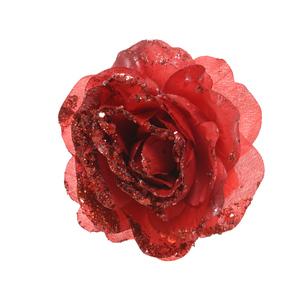 Rose à paillettes rouge Noël sur clip  - 14x8.5 cm 410191