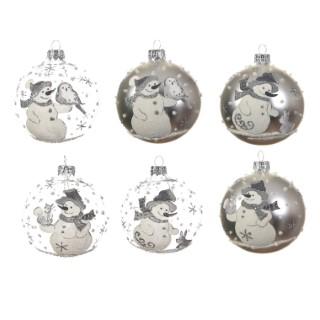 Boule en verre décor Bonhomme de neige Ø 8 cm (disponible en transparent ou argent) 410241