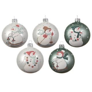 Boule décorative en verre motif Bonhomme de neige Blanc ou vert Ø 8 cm 410243